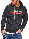 JACK & JONES Herren Hoodie Kapuzenpullover Sweatshirt Pullover Streetwear 4 Elements (XXX-Large, Dark Grey Melange)